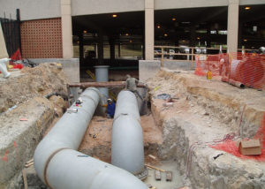 "UT TES | In support of the installation of a 1,000,000 gallon chilled water storage tank, we were selected to install the piping and equipment for the pumping station consisting of 2 - 600 hp pumps that vary between 1,500 gpm and 10,000 gpm depending on nighttime recharge or daytime usage and associated 30"" and 42"" diameter piping."