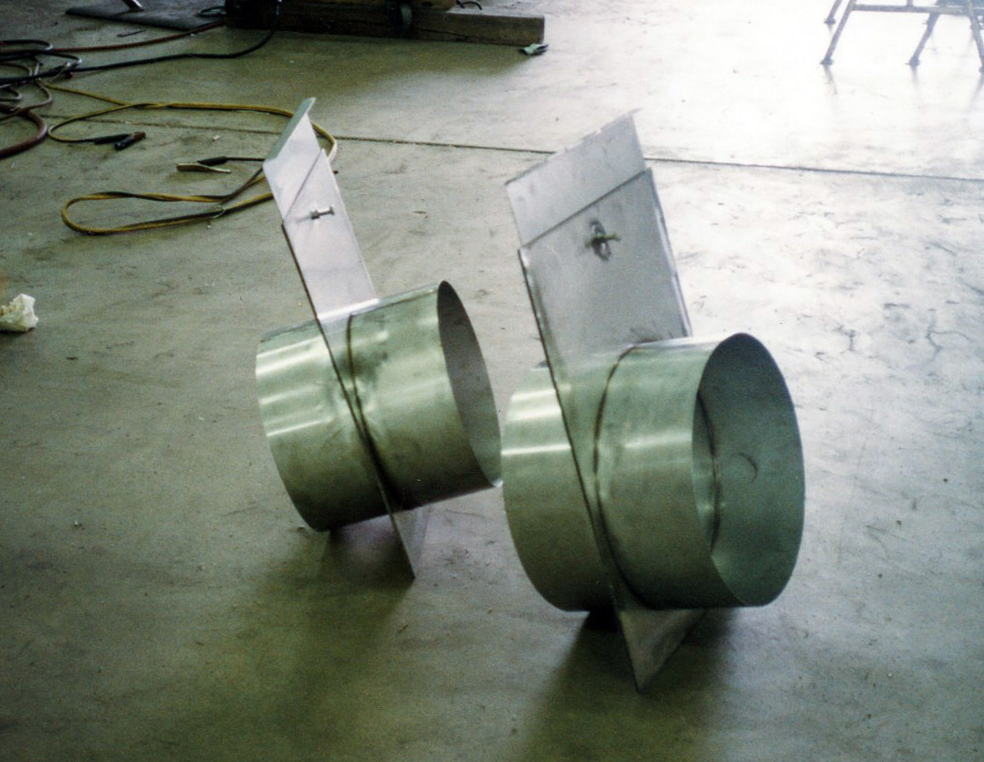Dampers | Stainless steel dampers fabricated for us in an exhaust system.